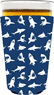 Shark Pattern Neoprene Collapsible Pint Glass Coolie