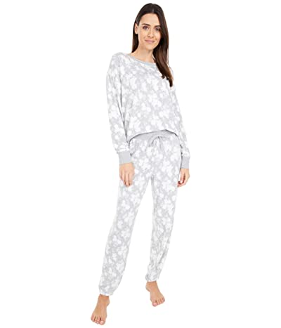 Splendid Westport Brushed Jersey Long Sleeve PJ Set (Silhouette Floral/Grey Heather) Women