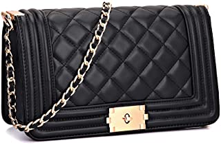 MMK Classic Quilted Handbags for Women Metal Gold Chain Strap Clutch Purse Shoulder Bags
