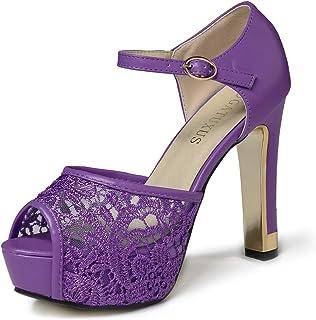 1f86c35da GATUXUS Lace Open Toe Women Platform High Heel Shoes Party Pumps Prom