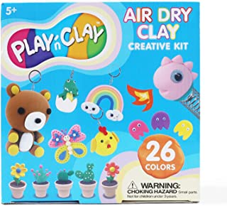 TBC The Best Crafts Air Dry Clay, 26 Colors Magic Clay Kit for Kids, Non Toxic Modeling Clay Toys with 30 Tools, 42 Projec...