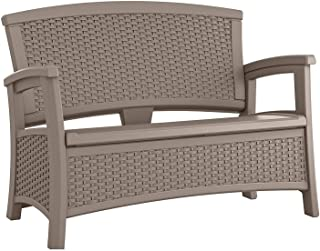 Suncast Elements Loveseat with Storage - Lightweight, Resin, All-Weather Outdoor Loveseat Chair - Wicker Patio Decor with Built in Storage Capacity up to 23 Gallons - Dark Taupe