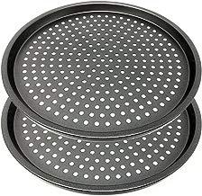 LS Kitchen - Molde para Pizza con Agujeros - Acero al Carbono - Recubrimiento Antiadherente - Diámetro 29 cm - Set de 2