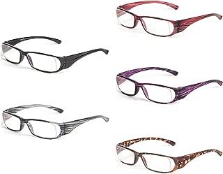 Liansan Brand Designer New Striped Reading Glasses Men Women Fashion Lightweight Reading Eyeglasses XL216, Magnification 1.0, 5 Pairs