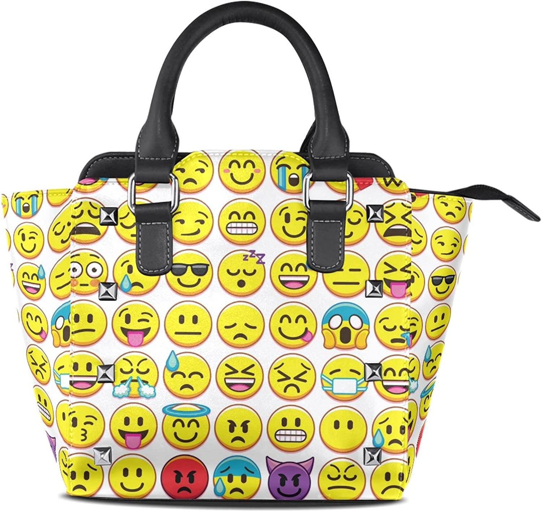 My Little Nest Women's Top Handle Satchel Handbag Different Emojis Emotion White Ladies PU Leather Shoulder Bag Crossbody Bag