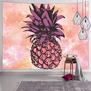 Hexagram Hawaiian Tropical Wall Tapestry for Bedroom Trippy Beach Pineapple Tapestry Wall Hanging Indian Mandala Bohemian Colorful Pink Tapestries Wall Decor