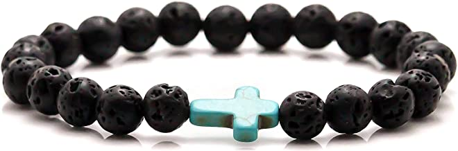 Xusamss Fashion 8mm Lava Rock Essential Oil Diffuser Bracelet Religious Cross Elastic Link Bracelet,7 1/2 Wrist
