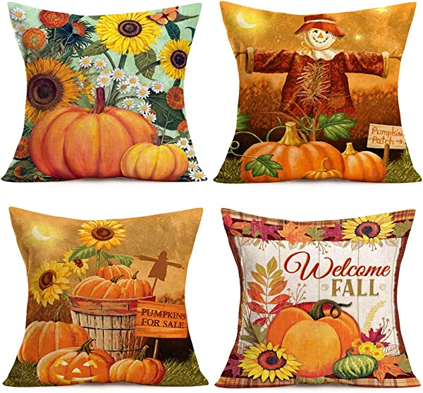 Fukeen Set Of 4 Decorative Throw Pillow Cover For Couch Sofa Autumn With Pumpkin Patch Sunflower Scarecrow Maple Leaf Festive Fall Harvest Farmhouse Decor Pillow Case 18x18 Inch Pumpkins For Sale