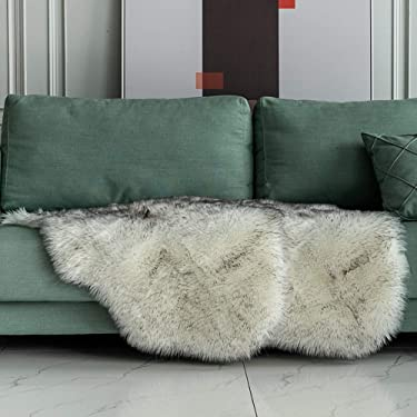 Carvapet 2 Pieces Soft Fluffy Faux Fur Chair Couch Cover Plush Sheepskin Area Rug Bedroom Living Room 2 x 3 Feet,Black/White