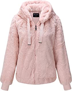 Bellivera Women's Faux Fur Jacket with 2 Side-Seam Pockets, The Fuzzy Jacket with Hood, for Spring Fall and Winter