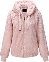 Bellivera Women's Faux Fur Coat with 2 Side-Seam Pockets, The Fuzzy Jacket with Hood, for Spring Fall and Winter