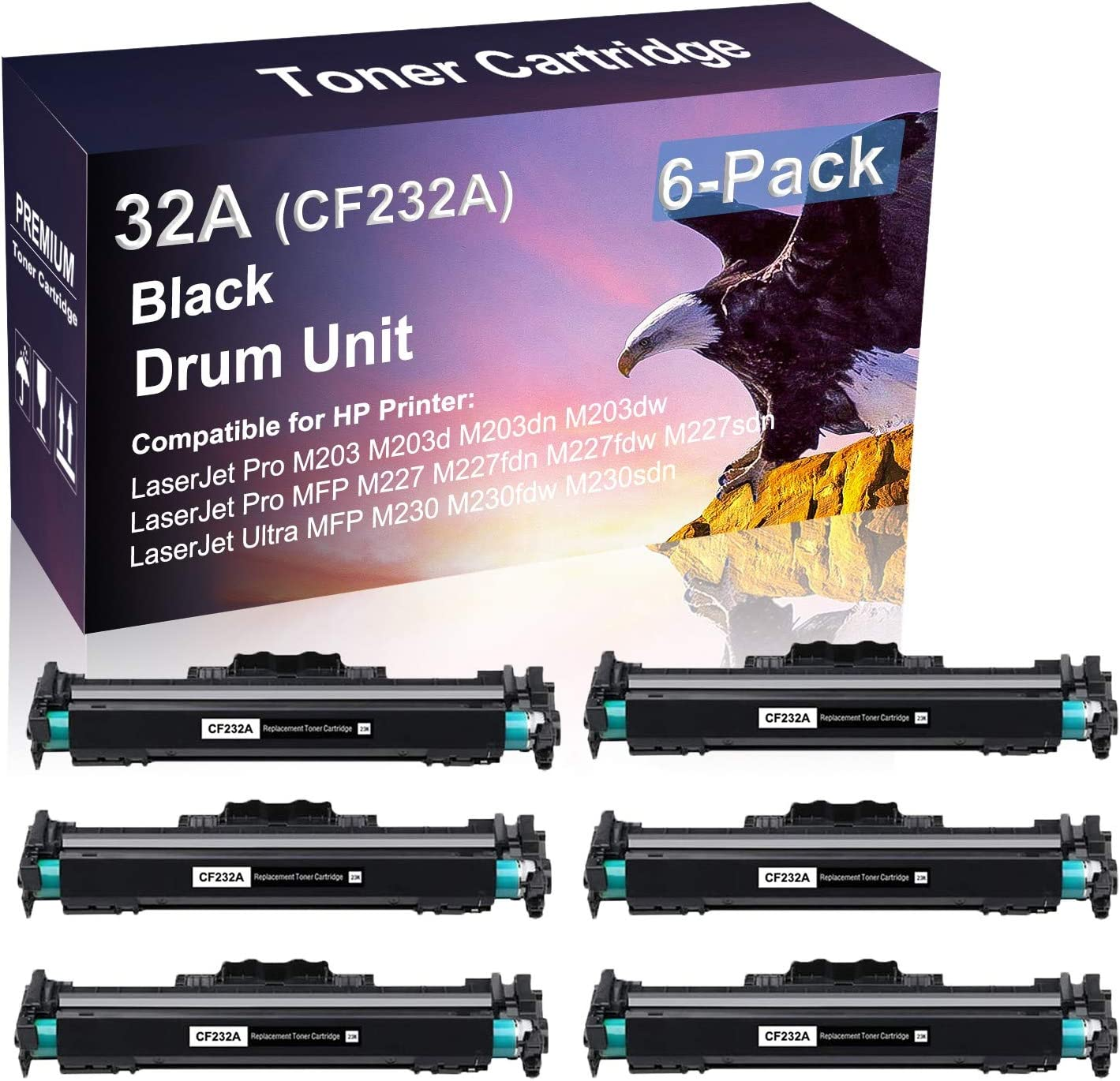 6 Pack Black Compatible Imaging San Francisco Mall Drum High Replacement 2021 autumn and winter new Yield