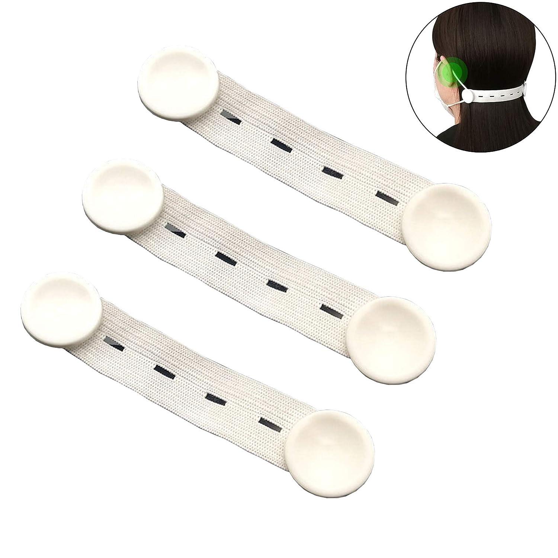 Wuluwala Ohrb/ügel-Haken verstellbare Schnallen Verl/ängerungskn/öpfe langanhaltendes Tragen von Ohren 3er-Pack elastisches Band Anti-Rutsch-Seile wei/ß Schmerzen 3