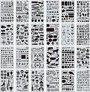 yyuezhi 24 Pièces Pochoirs Plastique pour Dessin Pochoirs à Dessin pour Journal Scrapbook DIY Pochoirs Peinture pour Journ...
