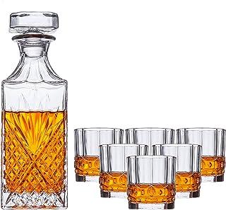 Red Wine Carafe مجموعة شفافة زجاجية من 7 قطع مع غطاء (1DECANTER + 6Cups) واضحة زجاج كريستال هدية النبيذ مجموعة مناسبة ل Wh...