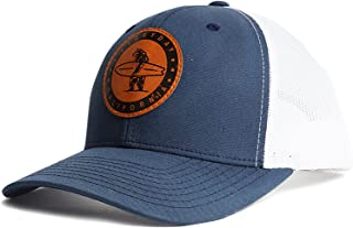 Marlin' Snapback Navy Blue and White Surf Hat - Baseball Style Cap with Vegan Leather Patch