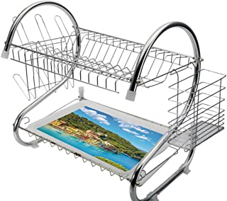 Stainless Steel 2-Tier Dish Drainer Rack Italy Kitchen Drying Drip Tray Cutlery Holder Portofino Landmark Aerial Panoramic View Village and Yacht Little Bay Harbor Decorative,Blue Green Yellow,Storage