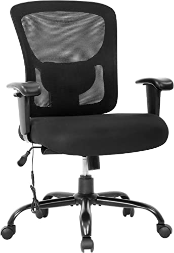 lowest Big and Tall Office Chair 400lbs Cheap Desk Chair Mesh Computer Chair with lowest Lumbar Support Wide Seat Adjust Arms Rolling Swivel High sale Back Task Executive Ergonomic Chair for Women Men,Black online sale