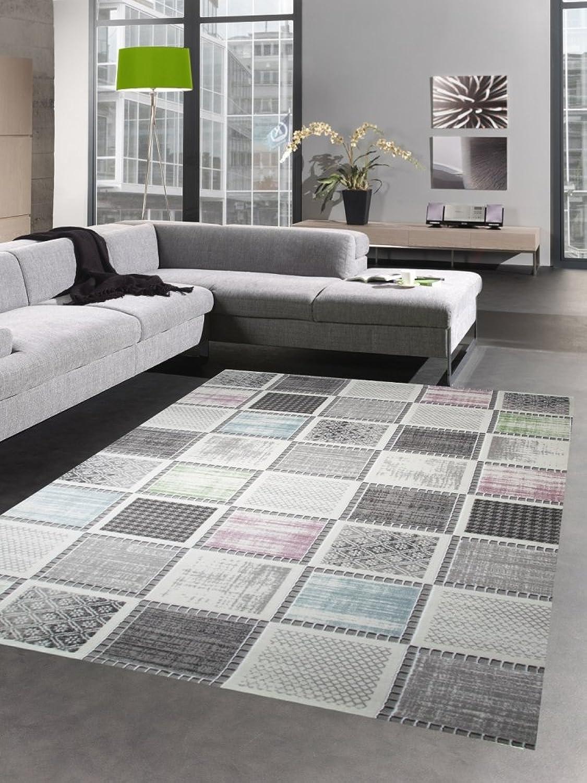 Designer Designer Designer und Moderner Teppich Kurzflorteppich mit Karomuster grau bunt blau grün Rosa Größe 200 x 290 cm B079WTKY1F add24b