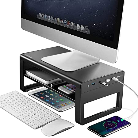 VAYDEER Support de Moniteur à 2 Niveaux avec Hub USB 3.0 en Aluminium, Support pour Le Transfert de données et Le Chargement, Support de Moniteur iMac 27 Pouces, Ordinateur Portable - Noir