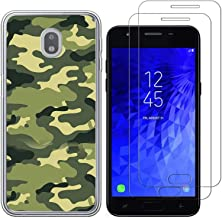 Samsung Glaxay J7pro J 7 2017 J730F SM-J730GM Case with 2 Pack Glass Screen Protector-Camouflage