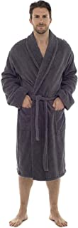 Men Towelling Robe 100% Cotton Terry Towel Bathrobe Dressing Gown Bath Perfect for Gym Shower Spa Hotel Robe Holiday