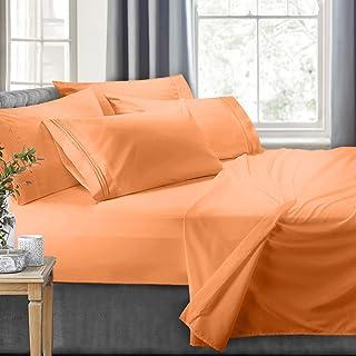 Clara Clark - Luxury Soft Microfiber, Hypoallergenic, vc_shtsprcc18rv-6pc_Gry, Apricot Orange, Short Queen