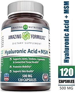 Amazing Nutrition Hyaluronic Acid & MSM Dietary Supplement - 500 Milligrams - 120 Capsules - Provides Joint, Tendon & Ligament Support - Promotes Flexibility – Skin Health Supplements*