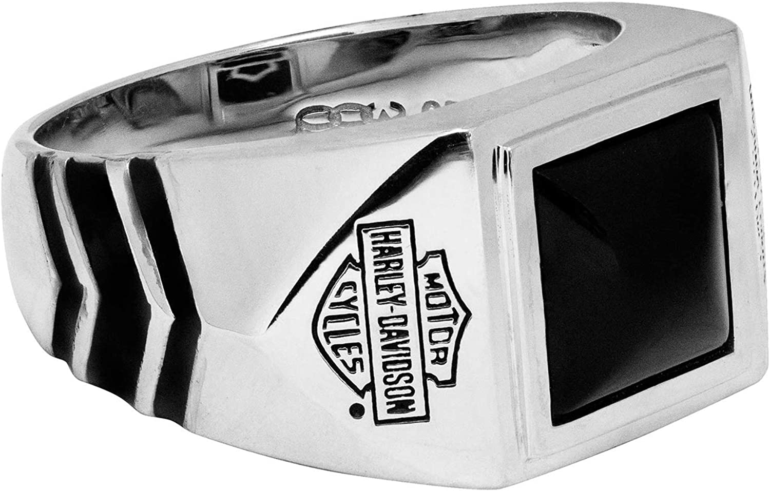 Harley-Davidson Mens Sterling Silver Square 毎日続々入荷 Onyx Ring Black BS 豊富な品