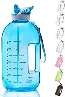 BOTTLED JOY 1 Gallon Water Bottle with Straw Lid, BPA Free Large Water Bottle with Motivational Time Marker Reminder Leak-...