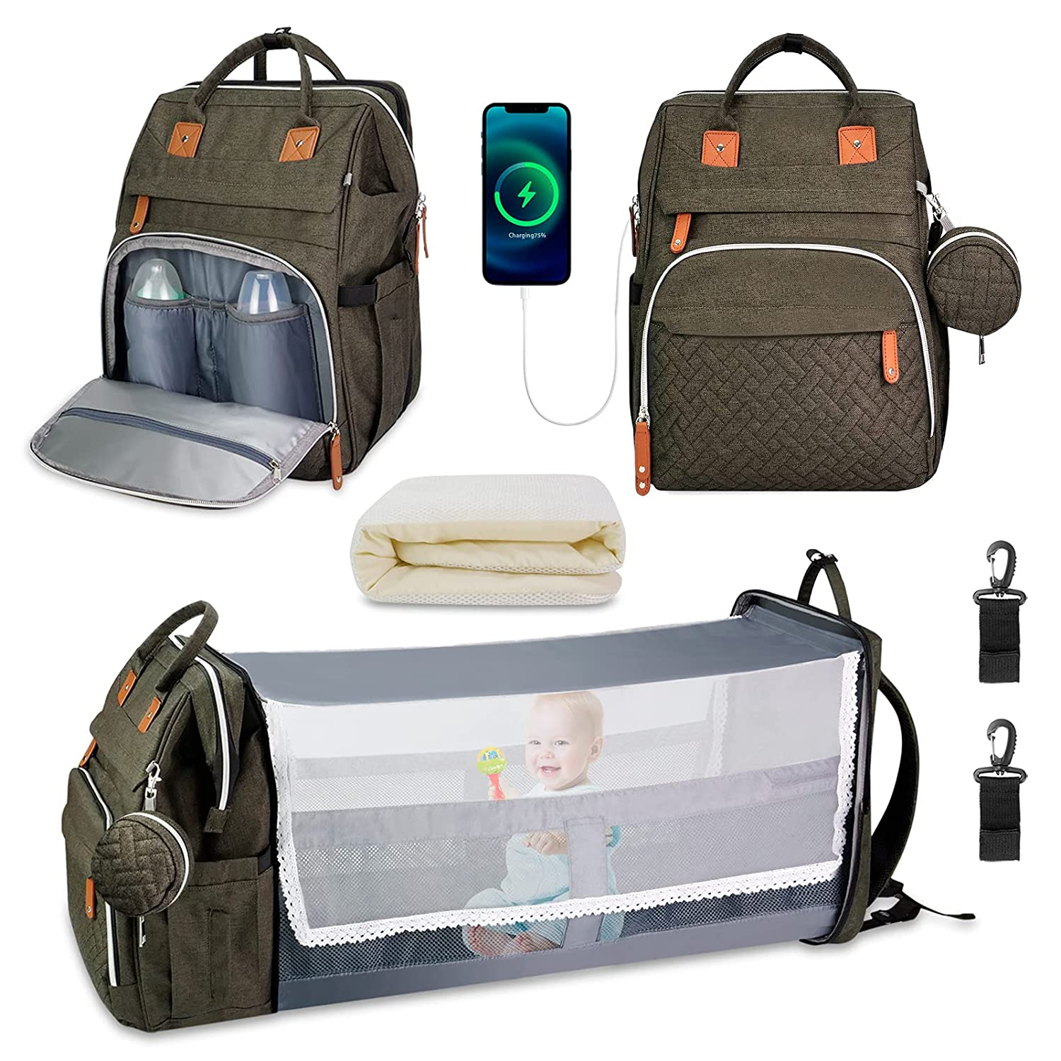 Liaojiong Diaper Bag with Changing Station, Baby Bag for Boys Girls, Portable Foldable Backpack Diaper Bags Travel Bag, Large Capacity, Waterproof Bag with Bassinet Bed, Pacifier Case, Shade Cloth