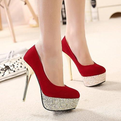 DHG zapatos de Tacón Alto con zapatos de Alta Moda con zapatos Altos, zapatos Altos, Gamuza de mujer Delgada con zapatos Individuales de mujer,rojo,36