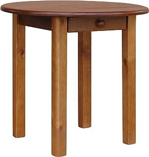 Koma Table ronde en pin avec tiroir 90 cm