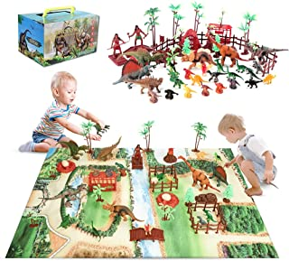 Baccow 60pcs Dinosaur Toys for Kids Age 3 4 5 6 7 8 9yr Year Old Boys Girls Gifts, Big Play Mat Dinosaur Playsets Toddler ...
