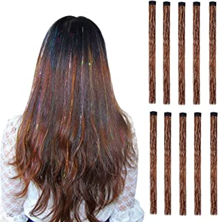LiaSun 10Pcs/set Highlight Glitter Tinsel Hair Extensions Clip In - Colored Party Sparkling & Shiny Hair Extensions - Mult...