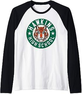 Netflix Stranger Things Hawkins High School Logo Manche Raglan