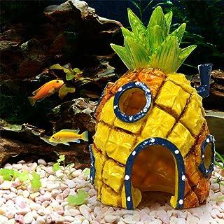 Mumoo Bear Pineapple Cartoon House Home Fish Tank Aquarium Ornament Decorations Escape Hole