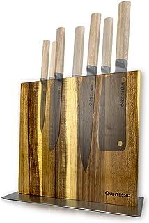 QUINTESSIO Bloc couteaux magnétique sans couteaux - Porte-couteaux en bois magnétique double face - Tablette à couteaux XL...