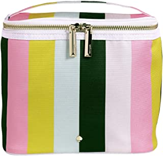 Kate Spade New York Insulated Soft Cooler Lunch Tote with Double Zipper Close and Carrying Handle, Brand Stripe