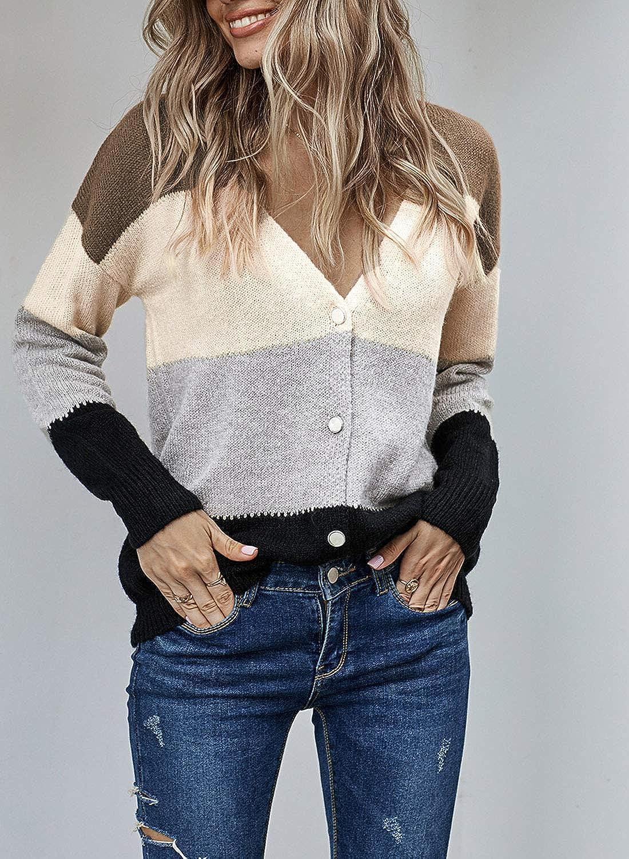 LOSRLY Cardigan /à manches longues ouvert sur le devant pour femme fermeture boutonn/ée col en V cardigan d/écontract/é /à manches longues pour femme. poignets c/ôtel/és avec /élasticit/é