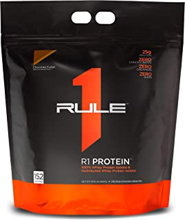 Rule One Proteins, R1 Protein - Chocolate Fudge, 25g Fast-Acting, Super-Pure 100% Isolate and Hydrolysate Protein Powder w...