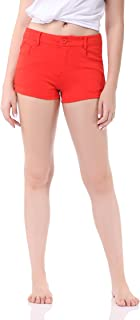 Pau1Hami1ton Women's Bermuda Low Rise Booty Shorts Solid Summer Color Stretch Fitted Hot Walking Short Pants GP-02