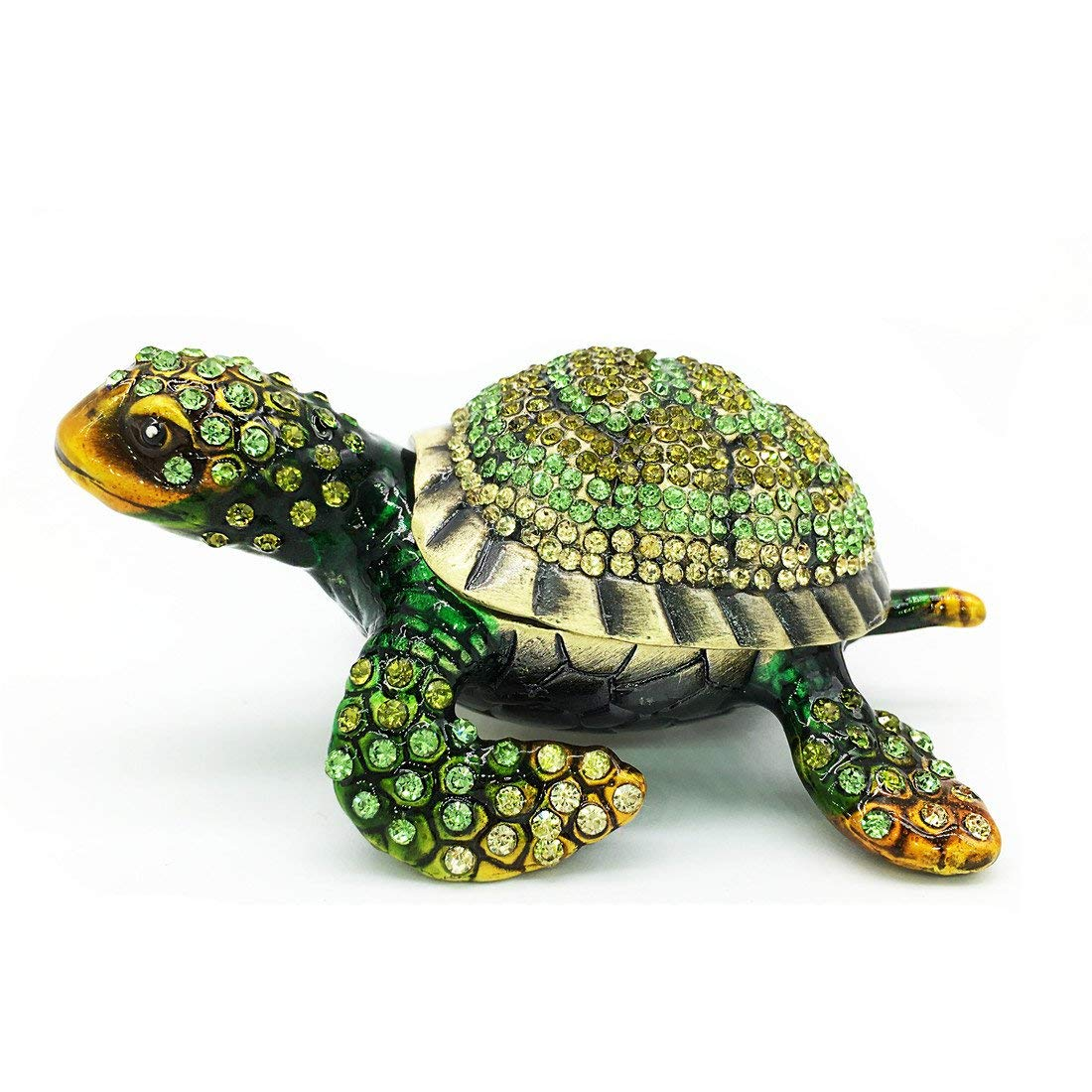 Image of Collectible Hinged Sea Turtle Jeweled Box - See More Turtle Trinket Boxes