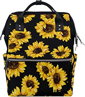 AUUXVA Diaper Backpack Flower Sunflower Pattern Multi-Function Large Capacity Baby Changing Bags Zipper Casual Stylish Tra...