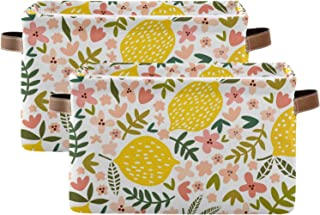 susiyo Large Foldable Storage Bin Beautiful Floral Lemon Fabric Storage Baskets Collapsible Decorative Baskets Organizing ...