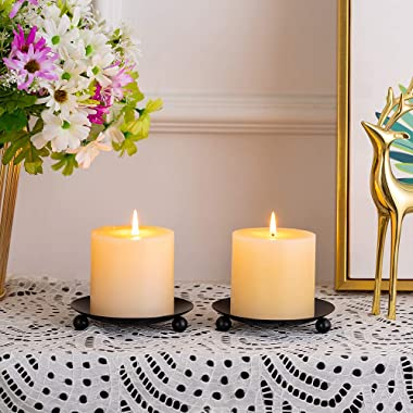 "NUPTIO Pcs of 4 Iron Candle Plate Pillar Candle Holder, Black, Decorative Iron Pillar Candle Plate, 4.3""/ 11cm Diameter P"