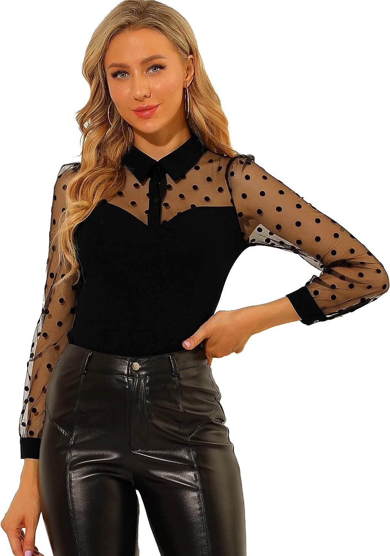 Allegra K Women's Polka Dots Mesh Panel Blouse Elegant Shirt Semi Sheer Top