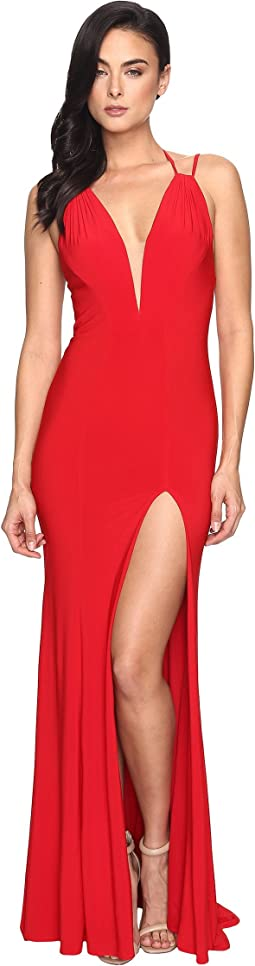 Faviana - Jersey V-Neck/Adjust Back & Slit Skirt 7920