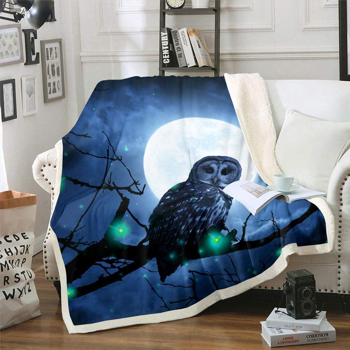 Castle Fairy Moon Owl Nightigar Blanket Three Stand on Throw Low price Austin Mall Ret