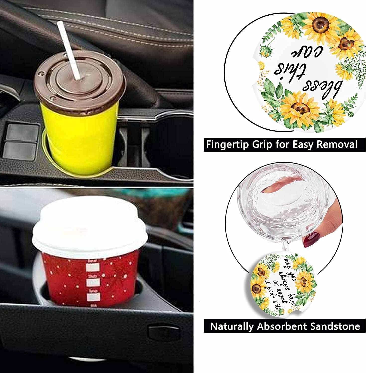 """Absorbent Cute Car Coasters 2 Pack for Cup Holders, 2.56"""" Ceramic Stone Cork Base Drink Cupholder Coasters Floral Sunflower (Bless This Car) : Home & Kitchen"""